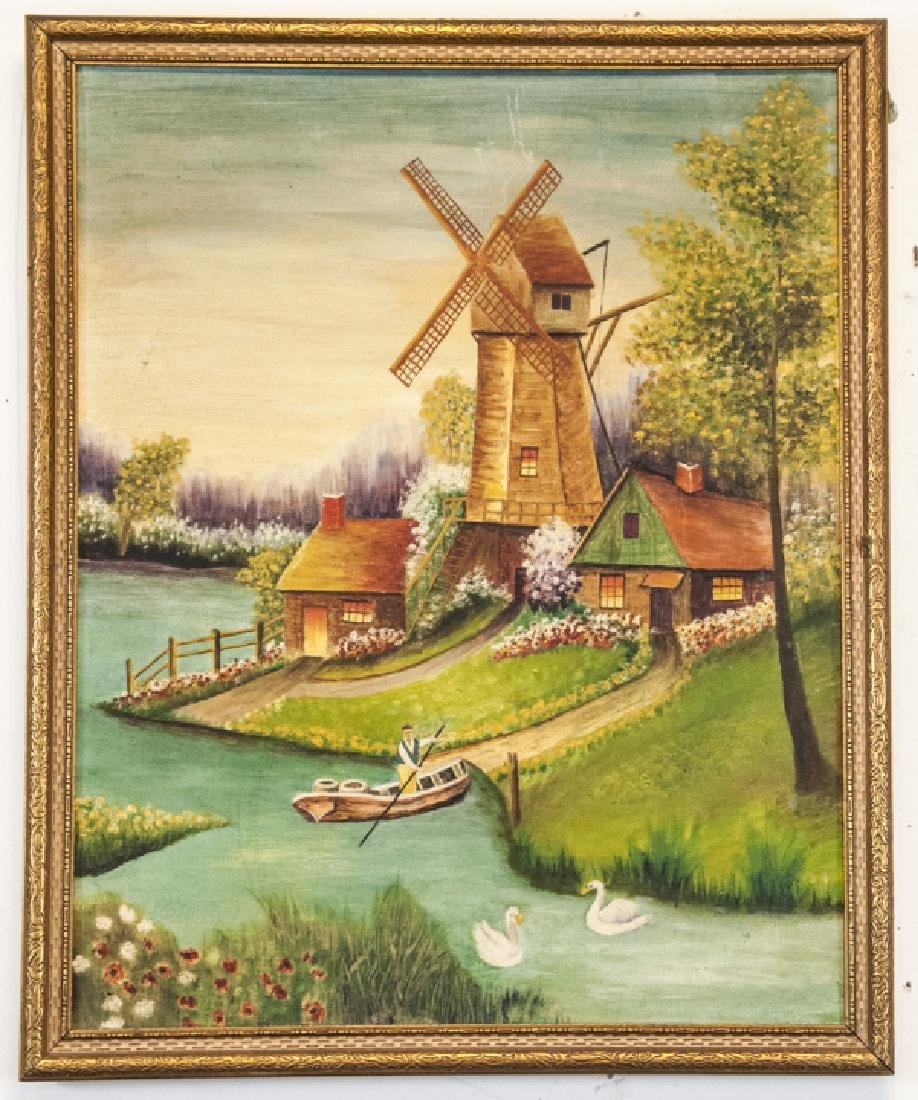 Oil on Canvas of Landscape and Windmill Scene