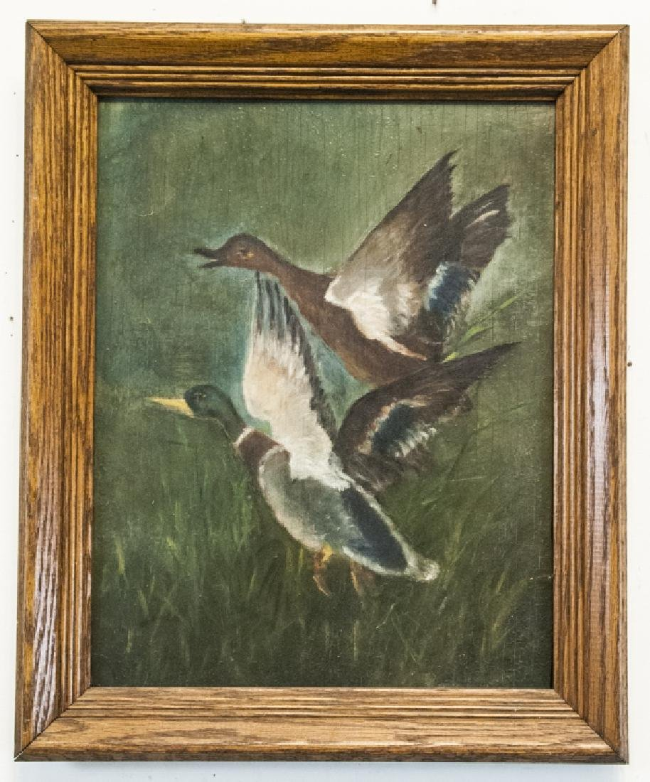 Oil on Wood Board of Ducks in Flight