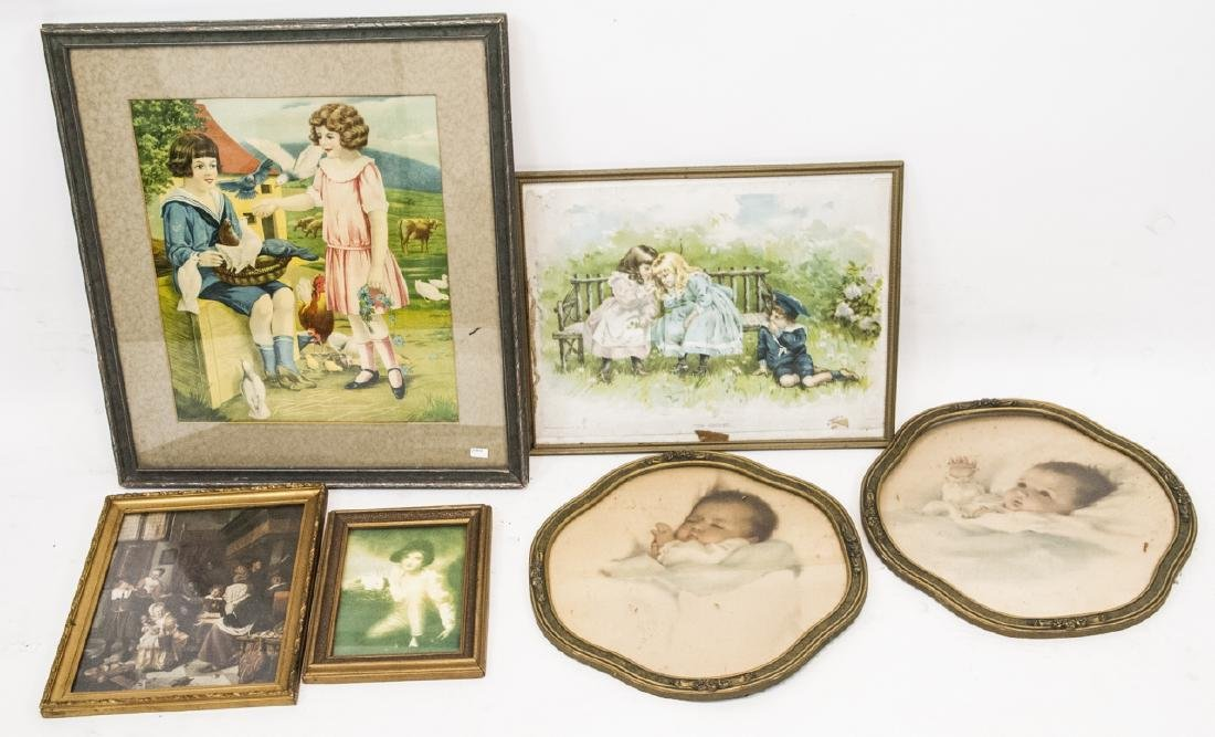 5 Child Themed Framed Vintage Print  Assortment