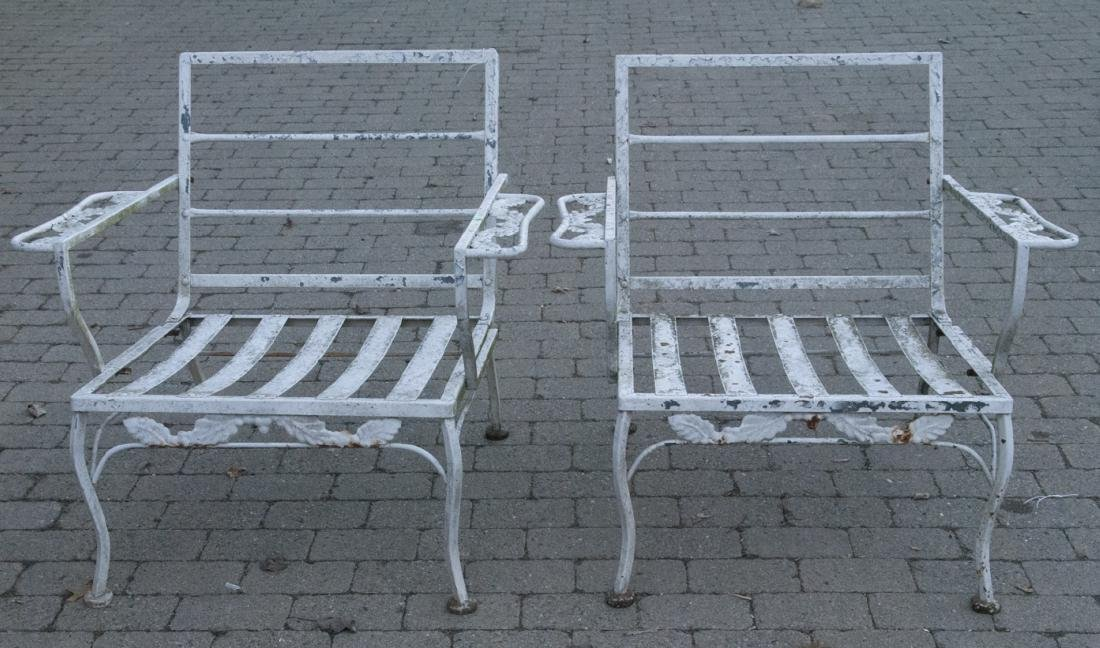 Vintage Pair Wrought Iron Patio Garden Chairs