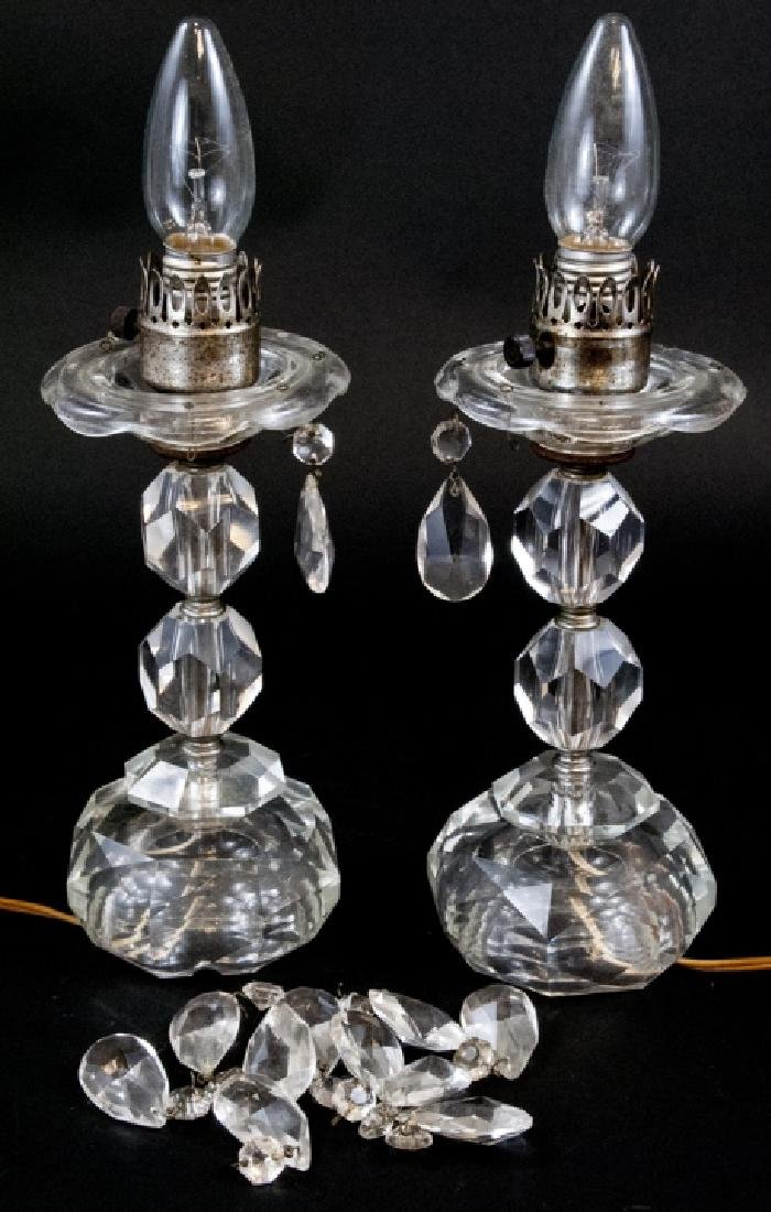 Pair Of Vintage Faceted Glass Lamps
