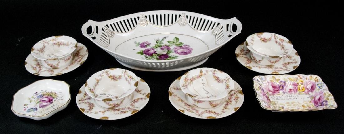 Vintage Porcelain Kitchen Items W./ Floral Design