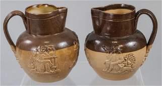 19th Century Royal Doulton Stoneware Harvest Jugs
