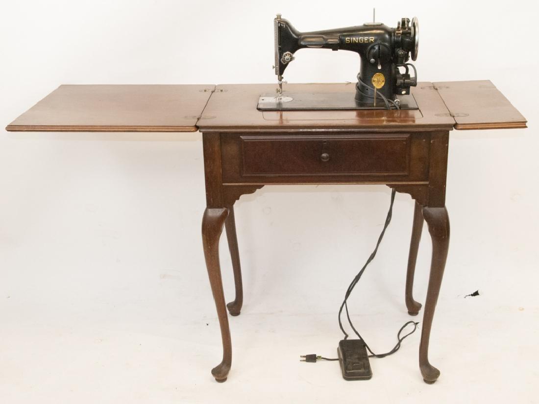 Antique Singer Sewing Machine in Desk