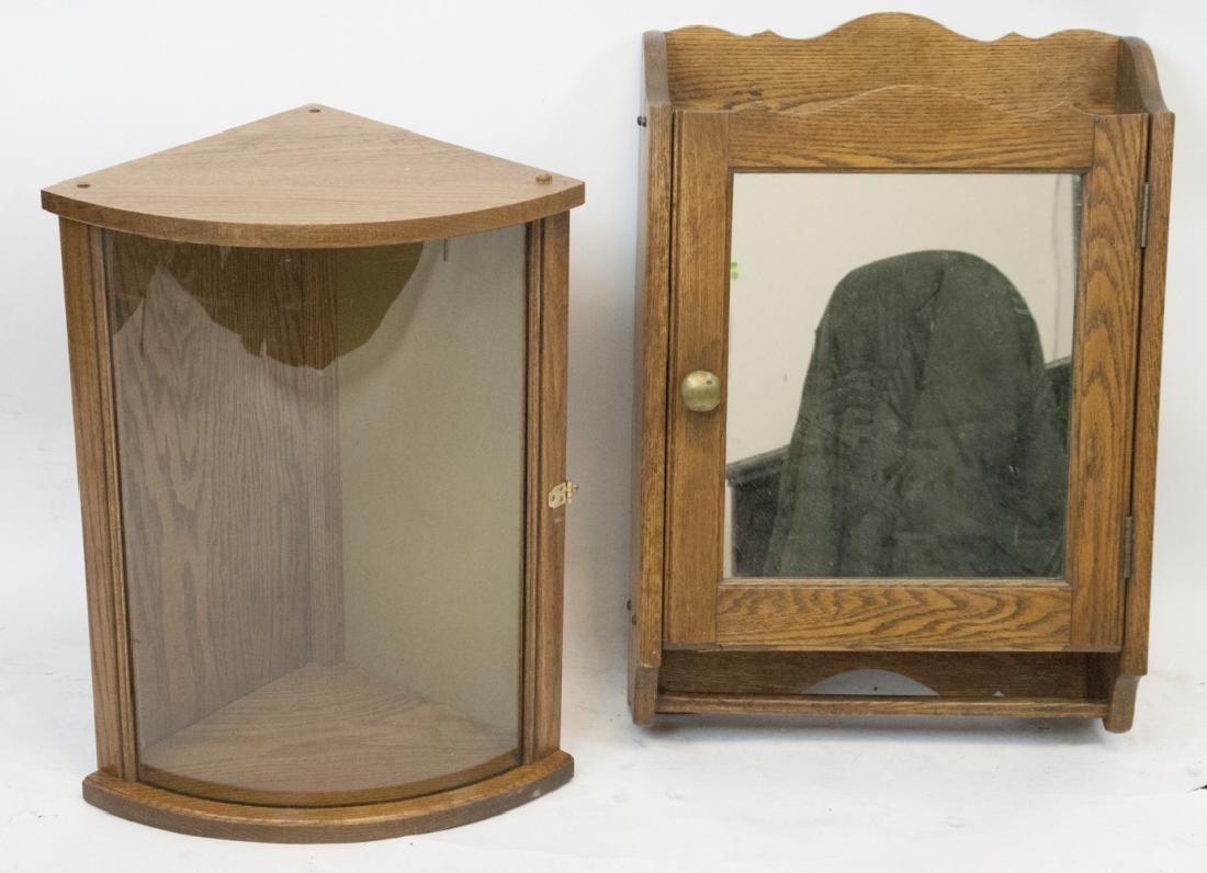 Vintage Oak Medicine Cabinet & Glass Front Cabinet