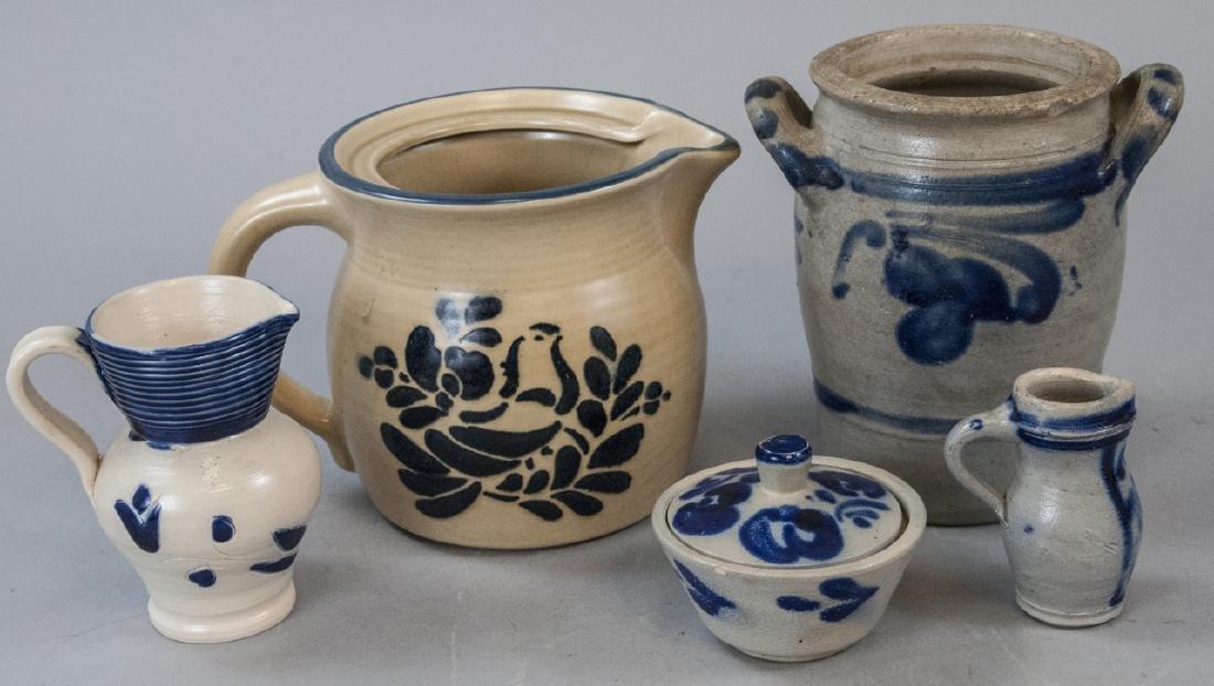 Vintage Salt Glazed Pottery W/ Blue Painted Motifs