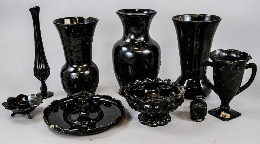 Assorted Lot Of Black Glass & Porcelain Items