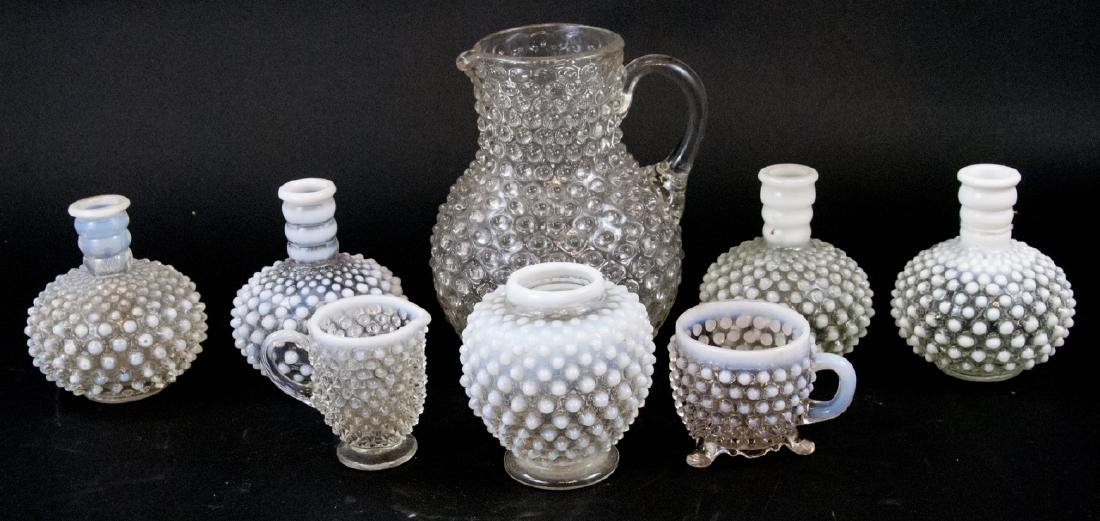 Assorted Lot Of Clear Hobnail Vintage Glass Items