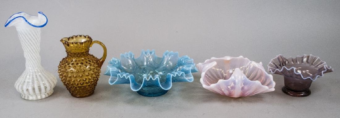 Assorted Lot Of Ruffled & Hobnail Glass Items