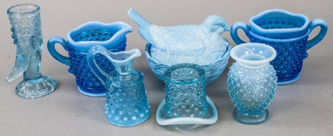 Assorted Lot Of Light Blue Glass Items
