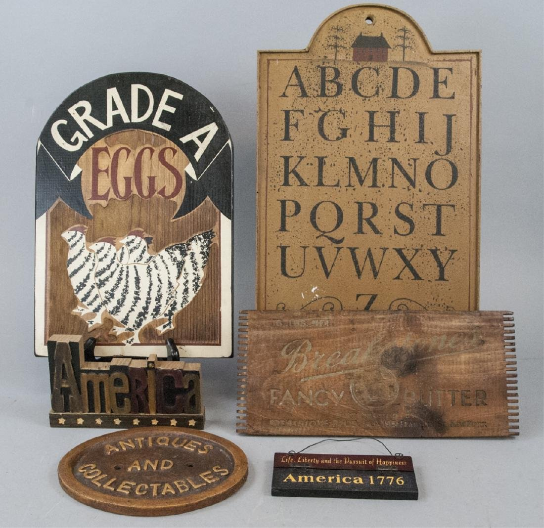 Assorted Lot Of Vintage Americana Decorative Signs