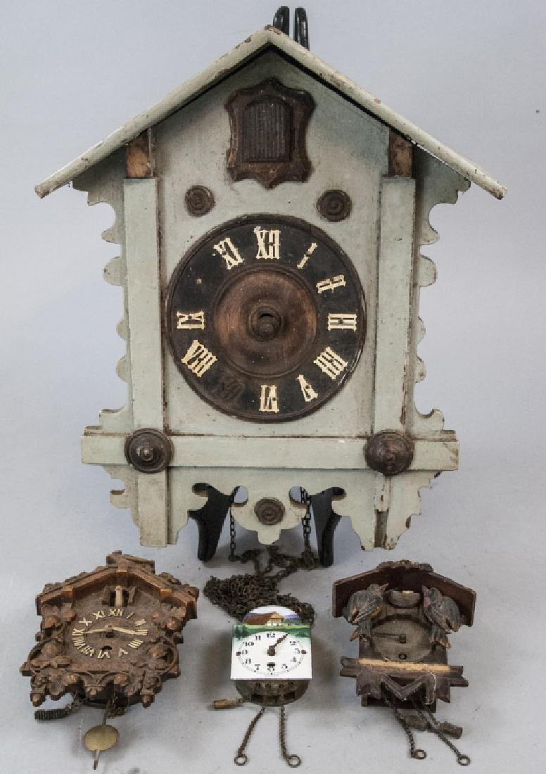 Group of Four Vintage Cuckoo Clocks