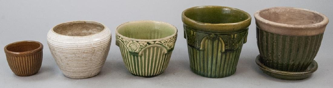 Five Vintage Ribbed Art Pottery Flower Pots