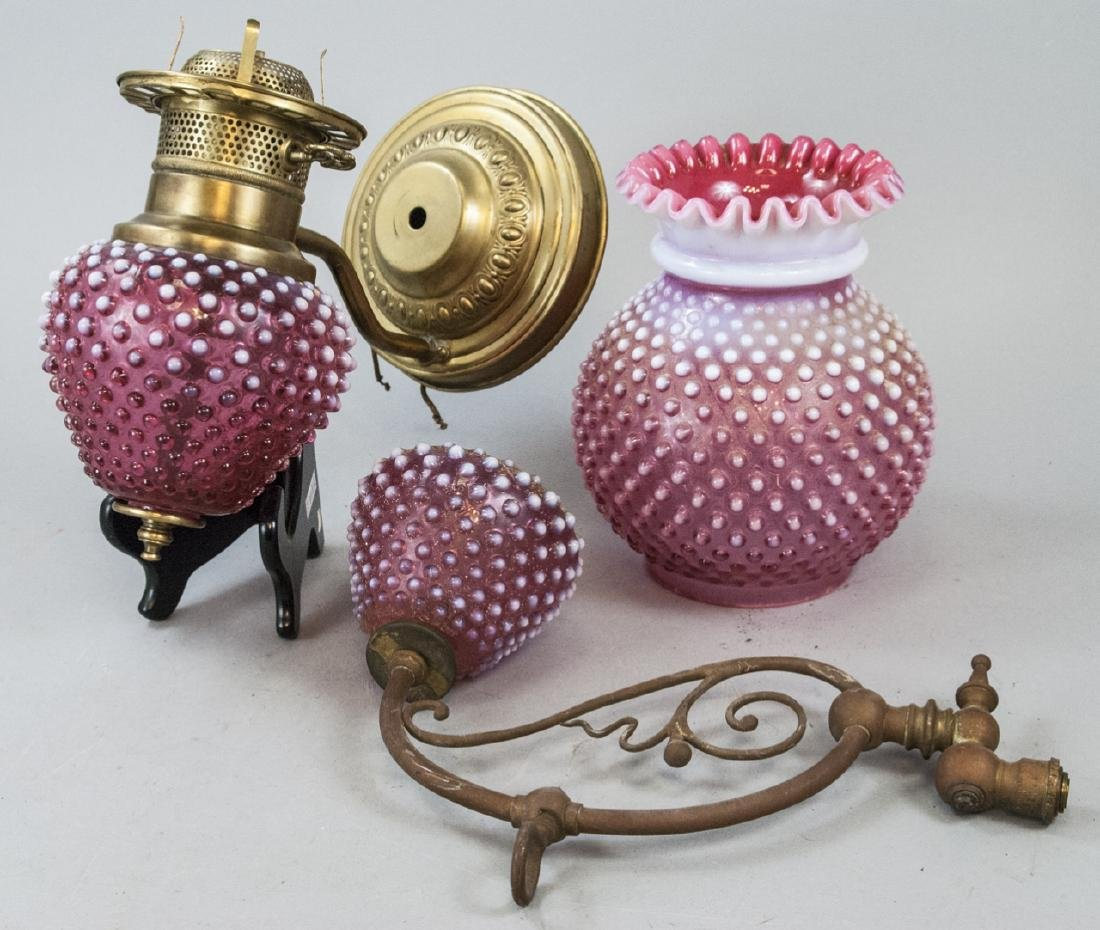 Two Antique Brass Hobnail Wall Sconces