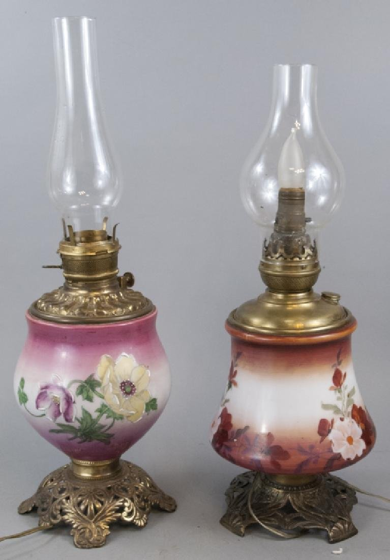 Two Antique Hurricane / Parlor Lamps W/ No Globes