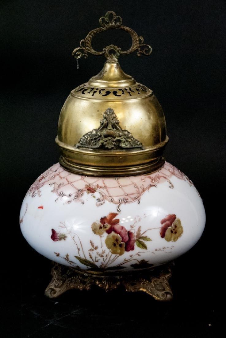 Antique Hand Painted Hurricane  Kerosene Lamp