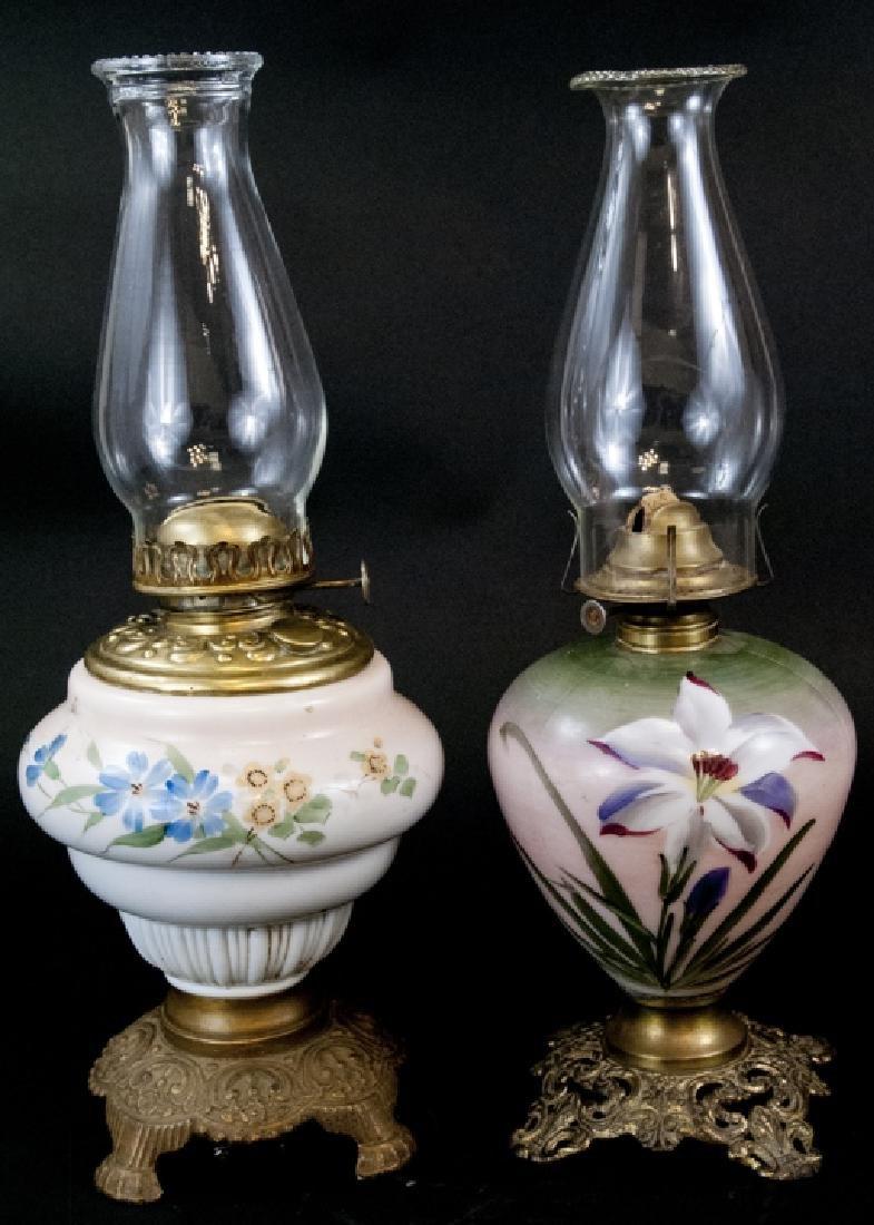 Two Small Antique Hurricane Kerosene Lamp