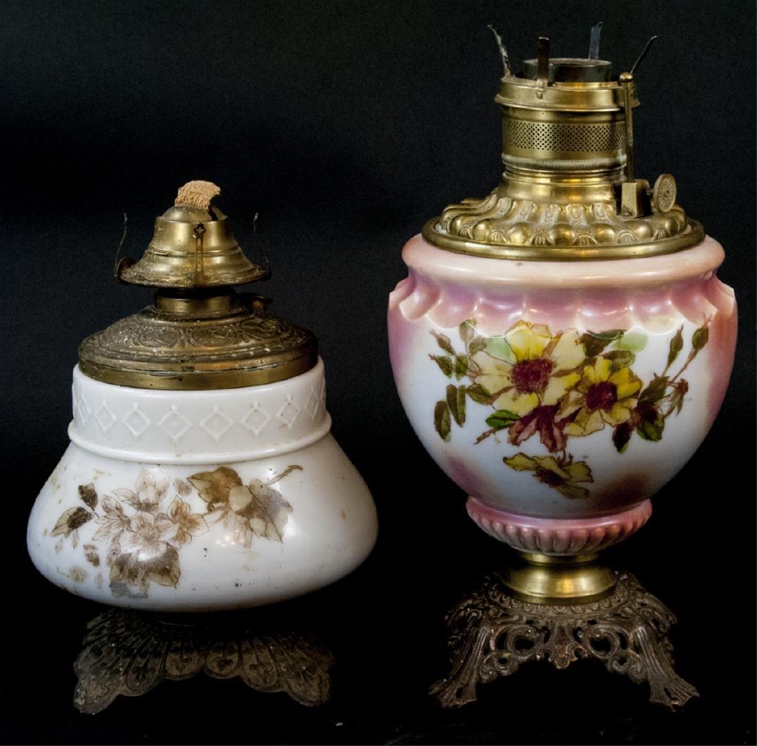 Two Small Antique Hurricane Kerosene Lamps