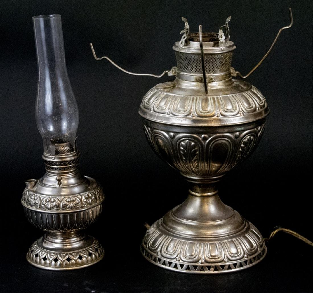 Two Antique Nickel Plated Kerosene Lamps