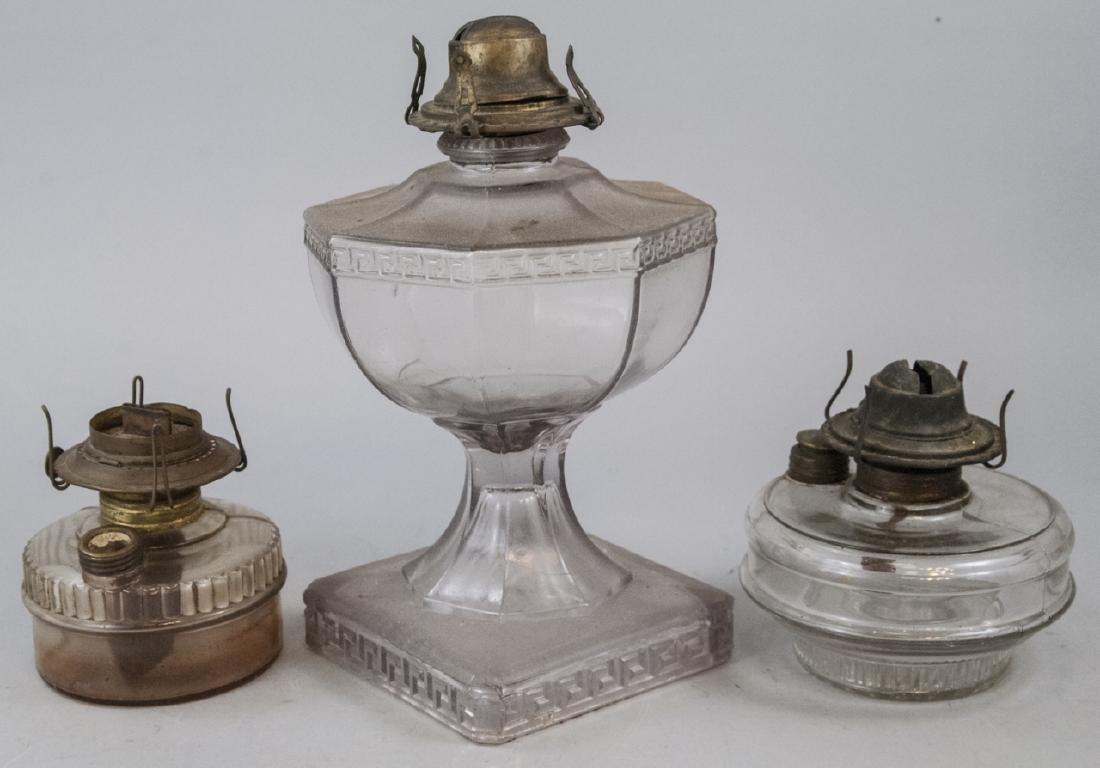 Three Antique Glass Kerosene Lamps