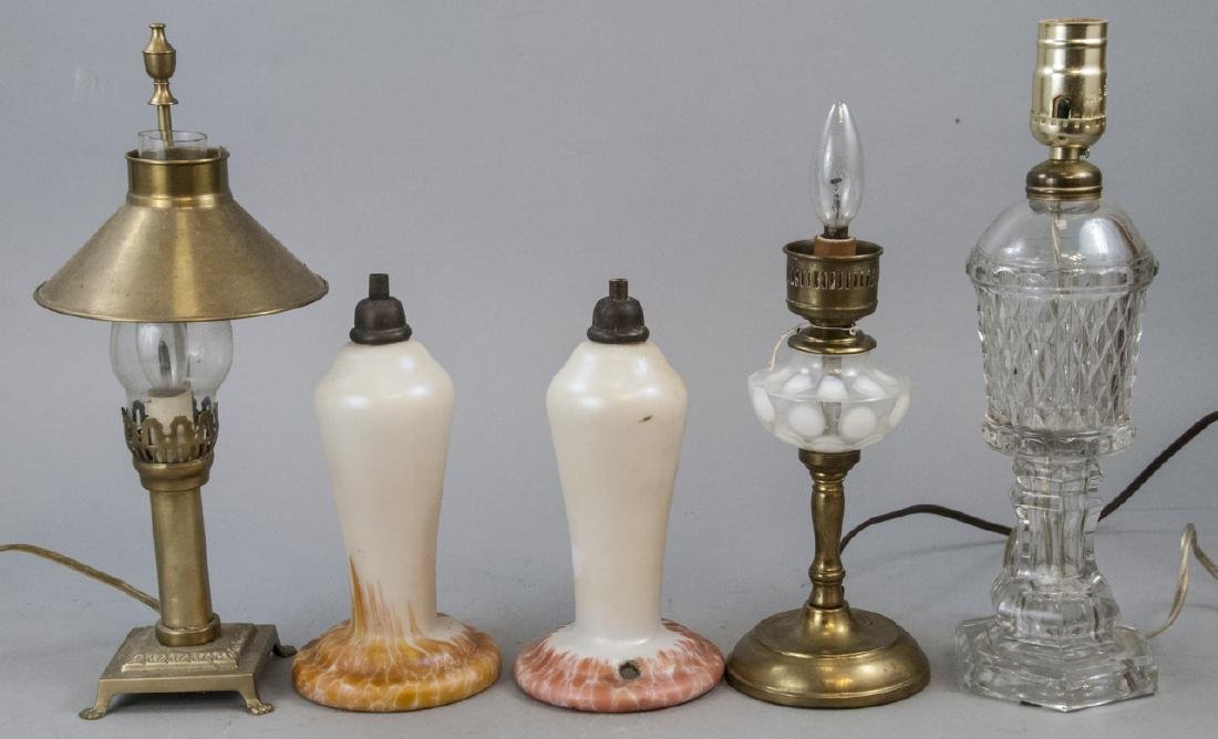 Lot Of Antique Clear Opalescent Glass Lamps