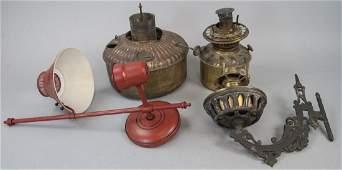Assorted Brass Kerosene Lamp Parts & Wall Sconces