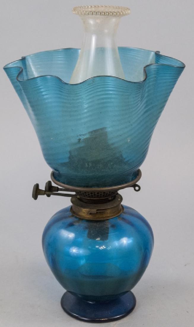 Antique Blue Opalescent Kerosene Lamp