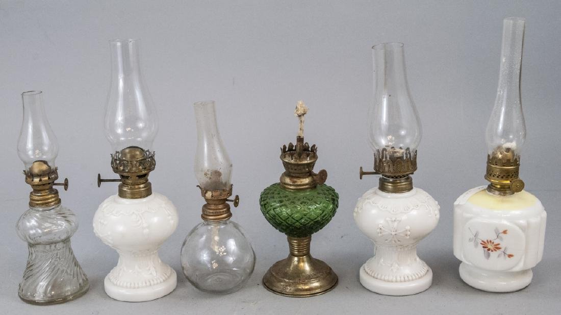 Lot Of 6 Various Sized Miniature Kerosene Lamps