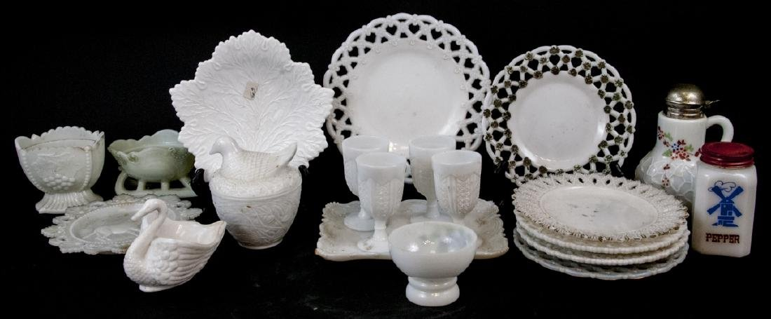 Lot Of Vintage Milk Glass Kitchen Items
