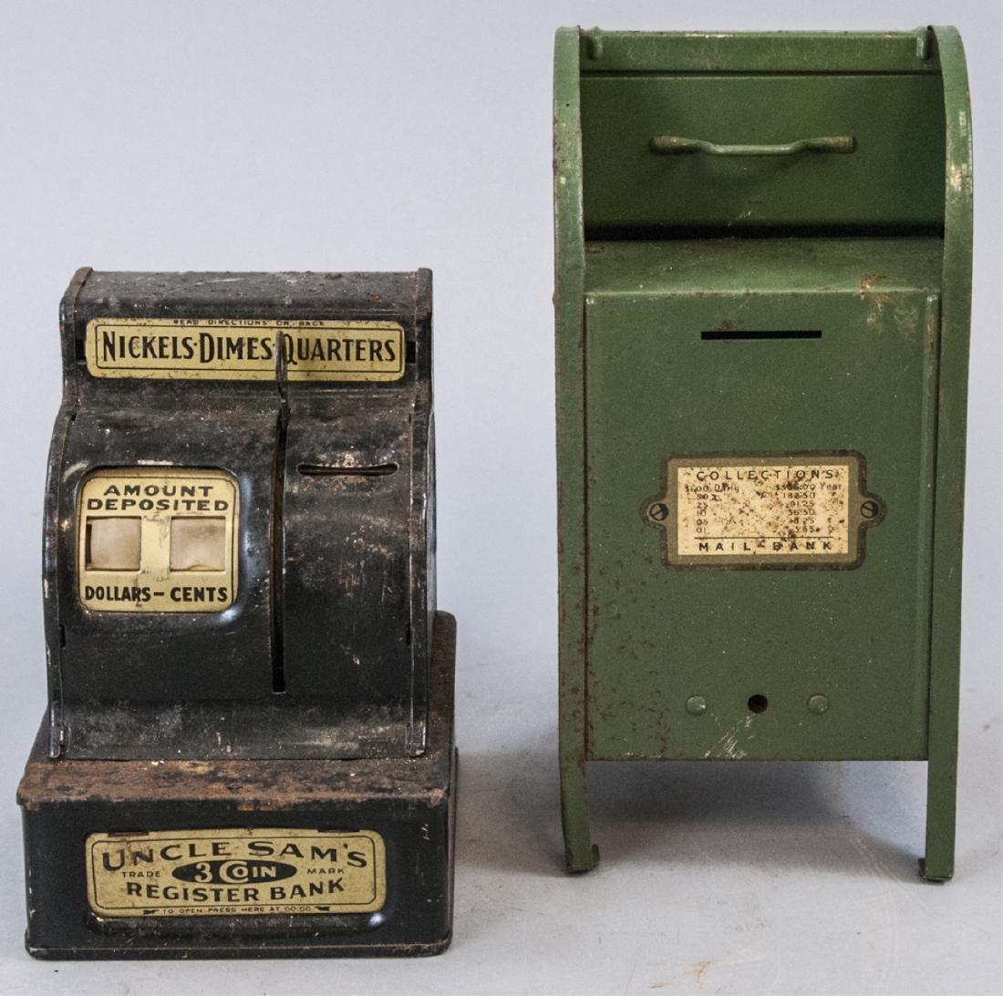 Antique Mail & Uncles Sams Registered Piggy Bank