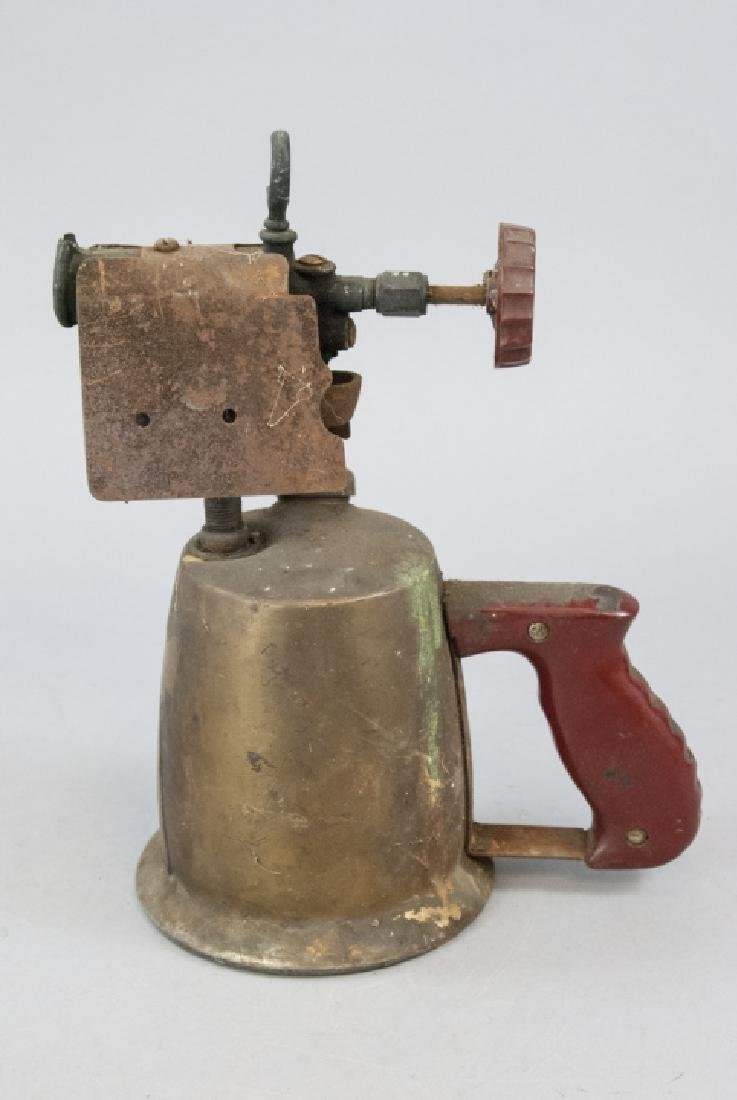 Antique Brass Blow Torch W/ Red Accents