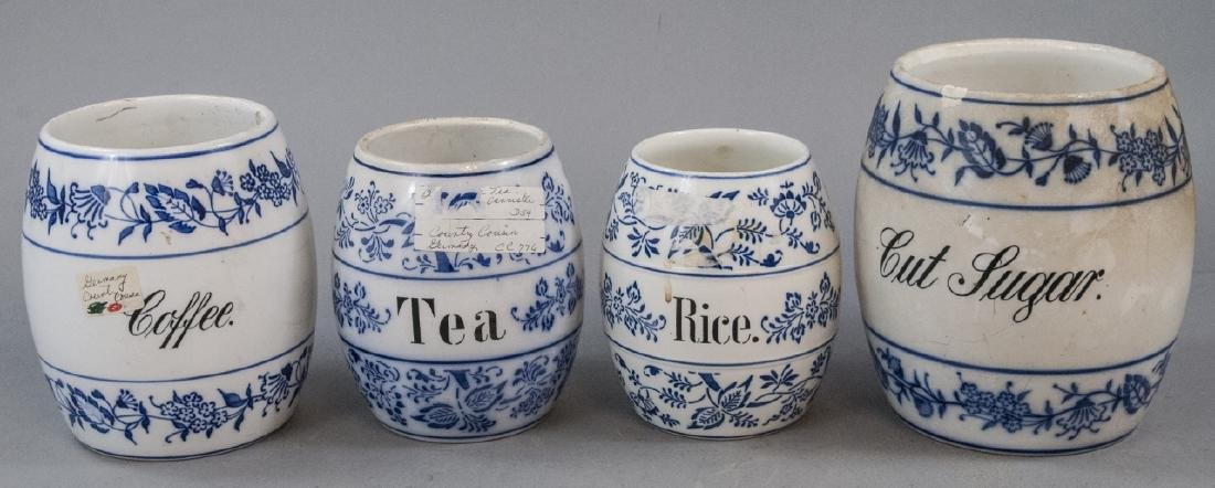 Antique Blue & White German Kitchen Canisters
