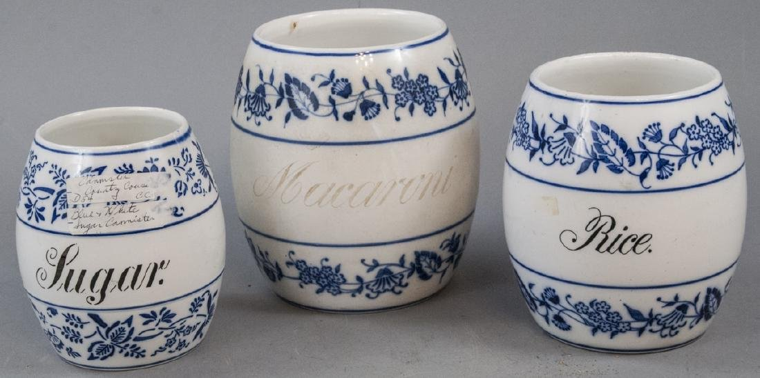 3  Antique Blue & White German Kitchen Canisters