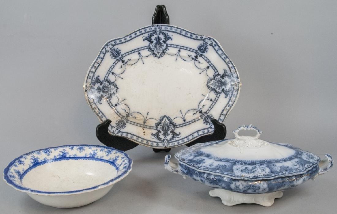 Antique English Blue & White Serving Pieces