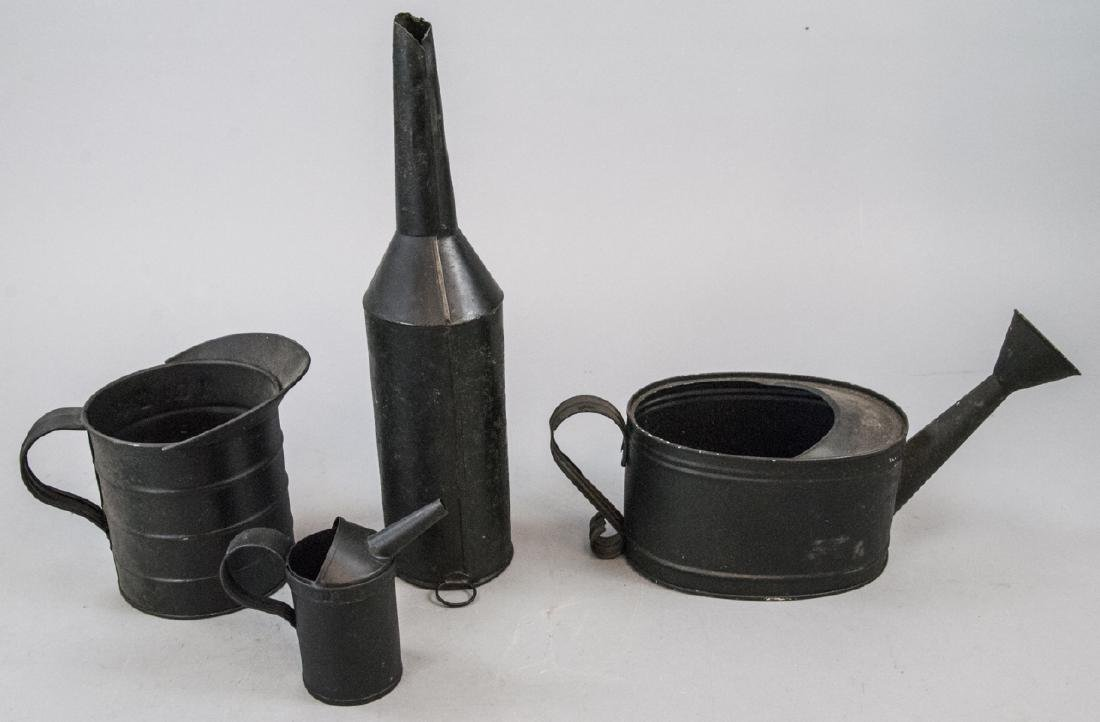 Lot Of Assorted Antique Black Tin Home Items