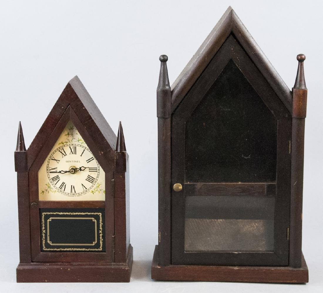 Two Antique Non Functional Steeple Clock Shells