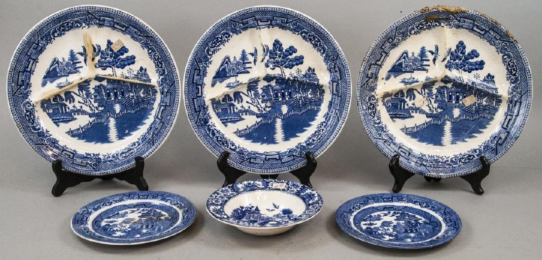 Antique & Vintage English Willow Ware Dishes