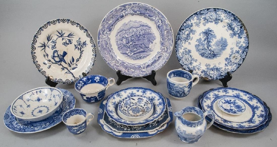 Lot Of English Blue & White Transfer Ware China