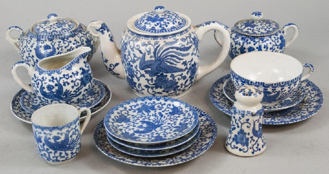 Antique & Vintage Japanese Blue & White Tea Set