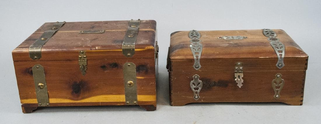 Two Vintage Wooden Boxes With Brass Inlays