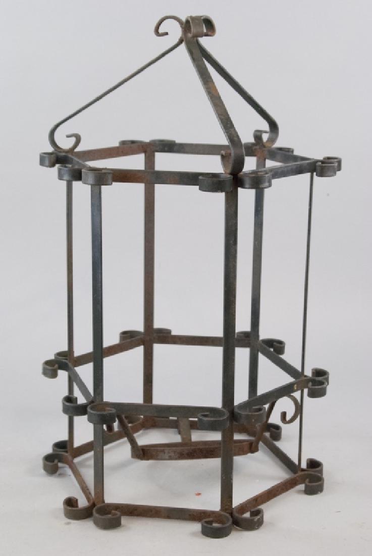 Vintage Hand Forged Iron Lantern Cage