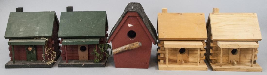 Lot Of Five Vintage Wooden Birdhouses