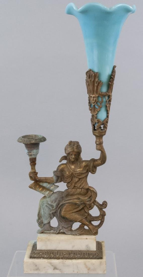 Antique Bronze Torchiere Turquoise Opaline Glass