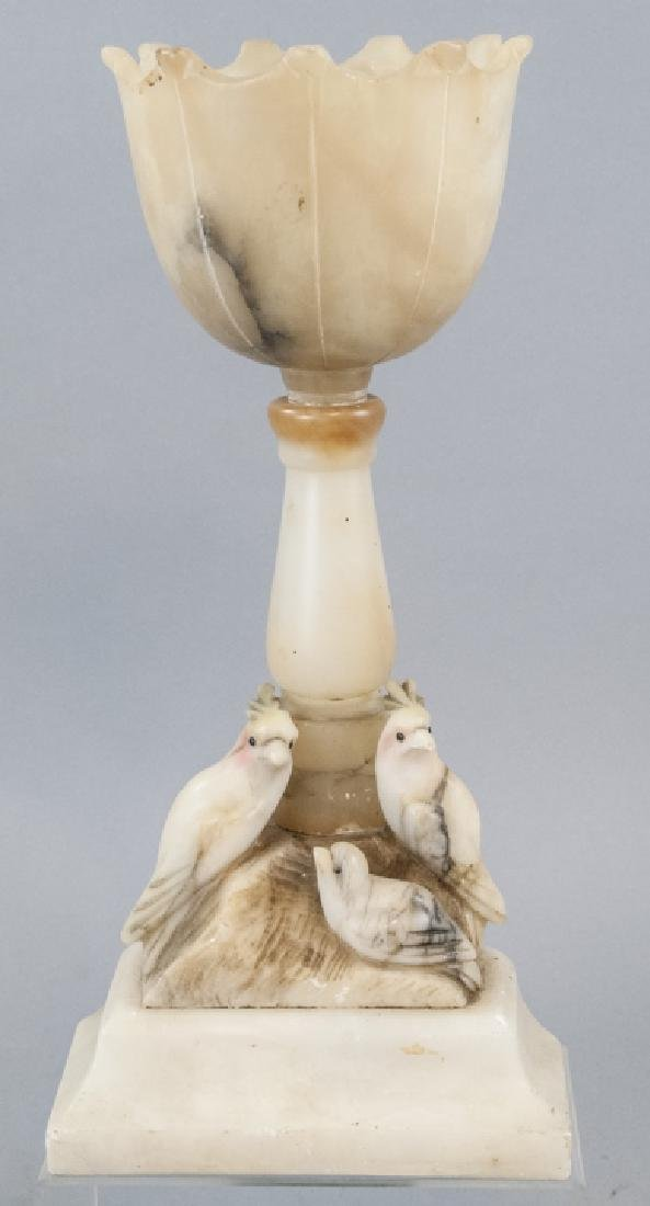 Antique Carved Alabaster Parrot Figural Lamp Base