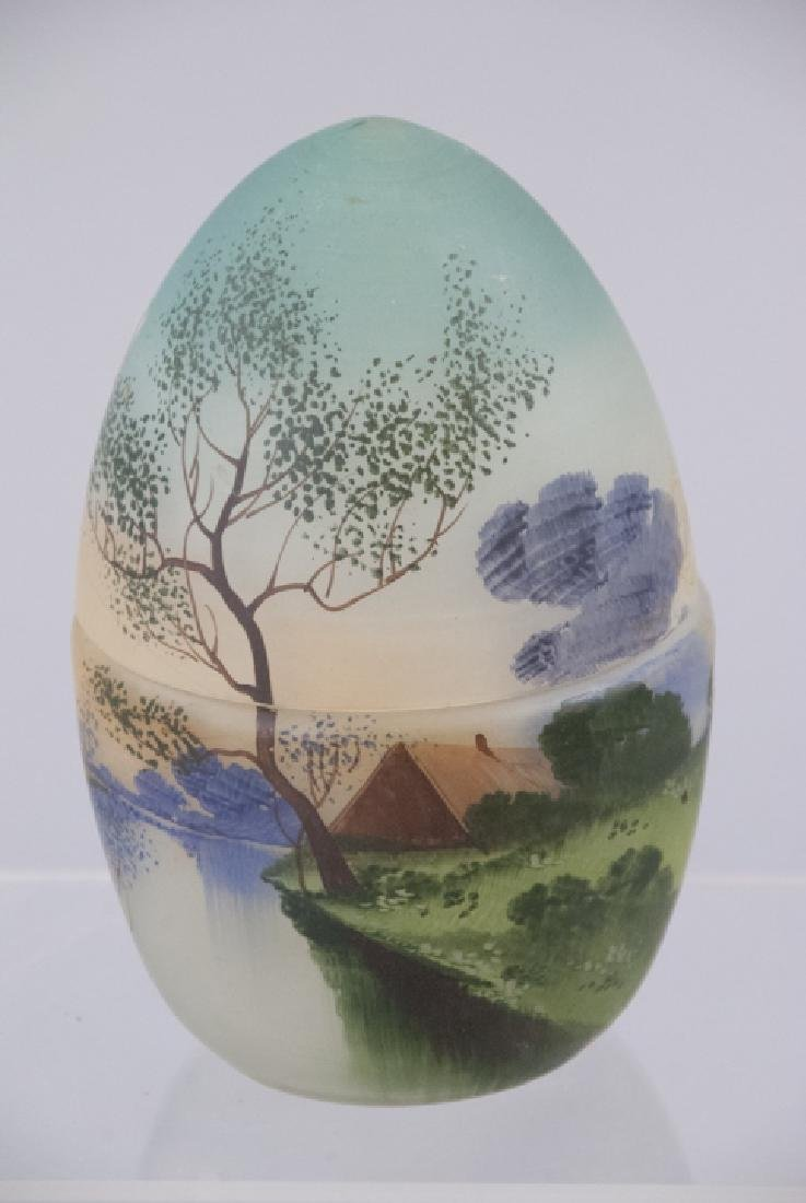 Hand Painted Frosted Fenton Glass Style Egg