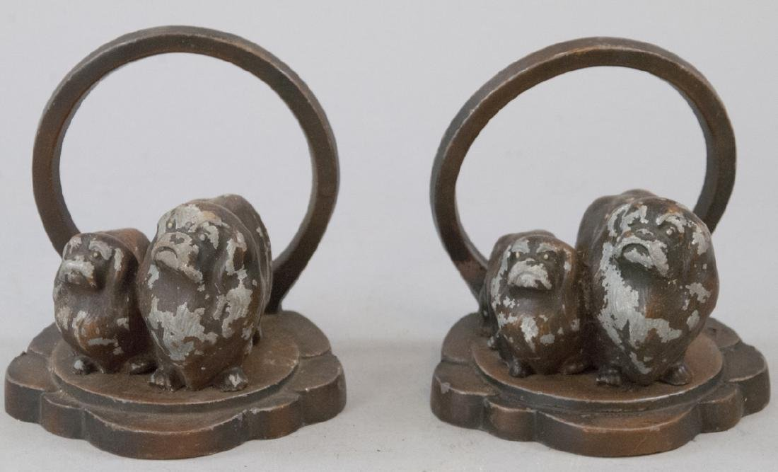 Vintage Bronze Cocker Spaniel Dog Bookend Set
