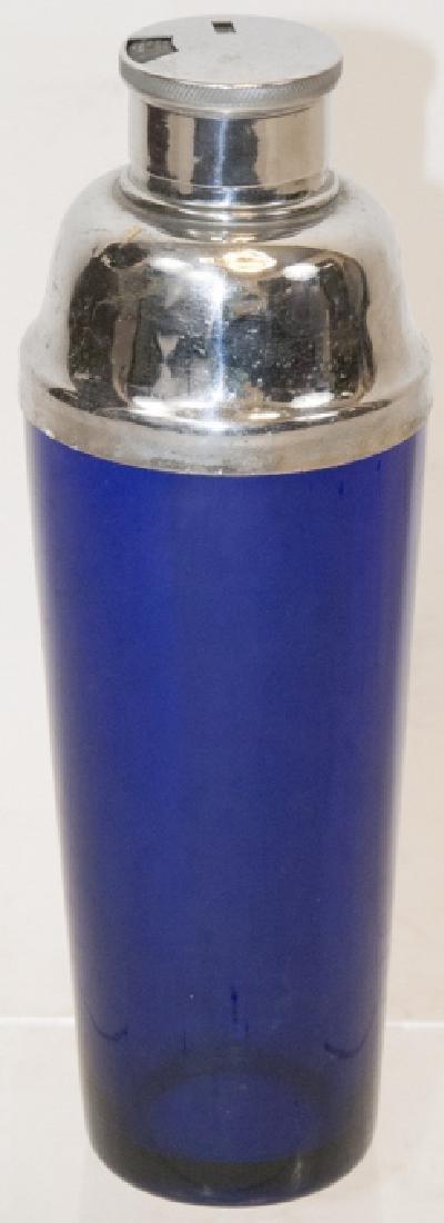 Vintage Cobalt Glass Cocktail Shaker