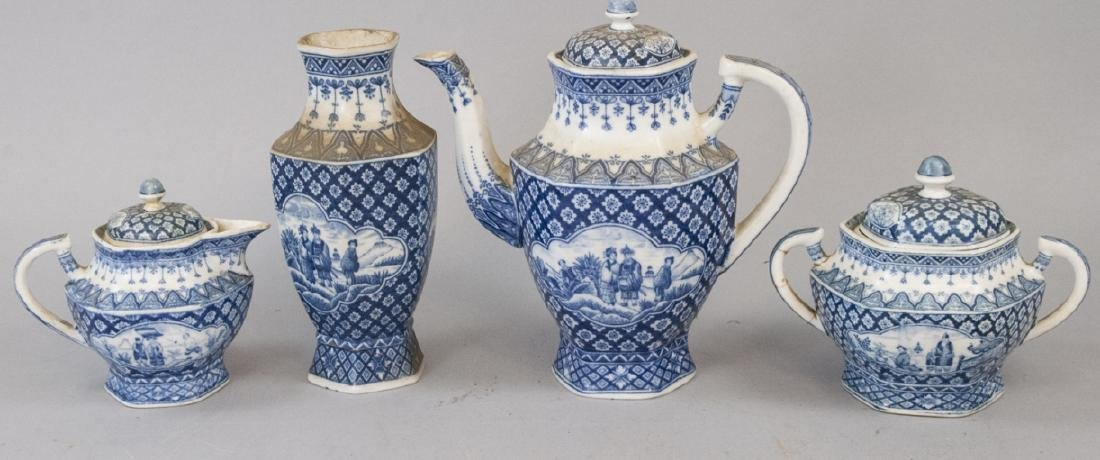 Antique Asian Blue & White Pottery Tea Set