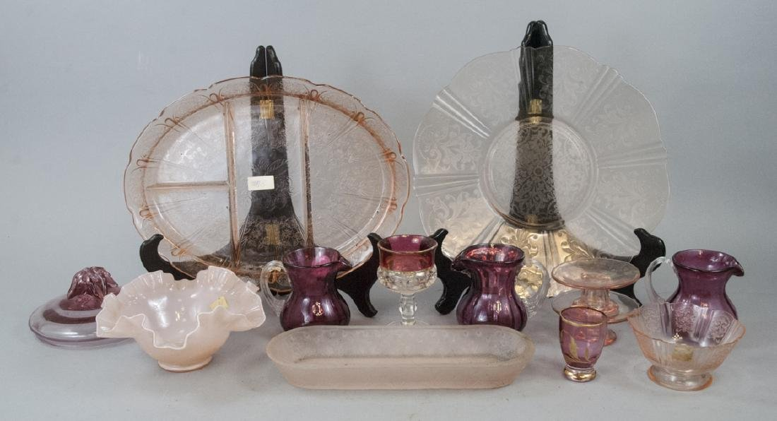 Assorted Lot Of Vintage Pink & Cranberry Glass