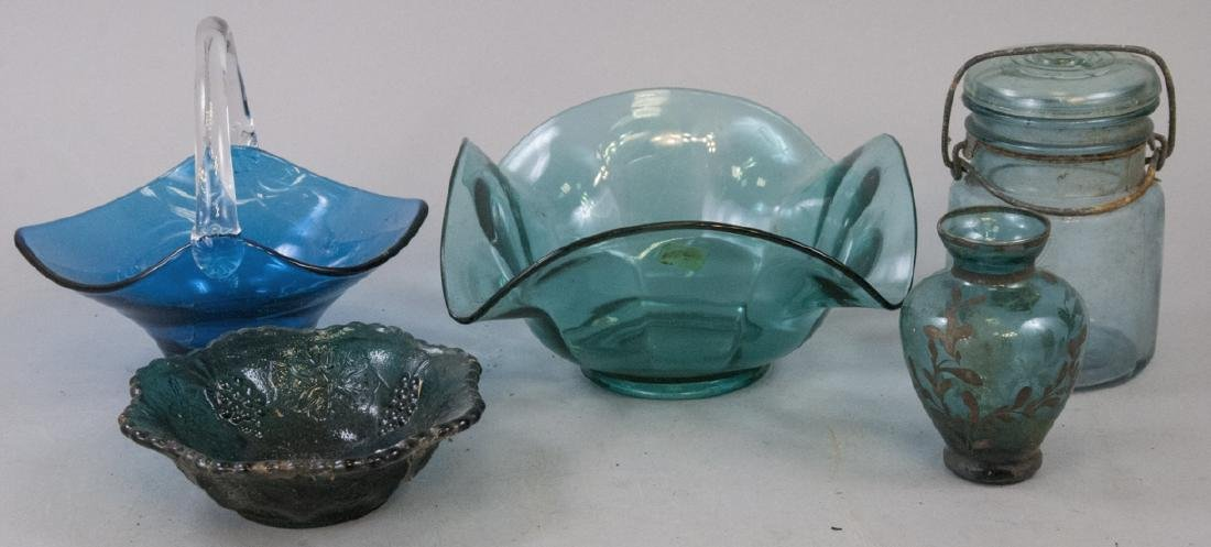 Assorted Lot Of Vintage Blue Glass Items